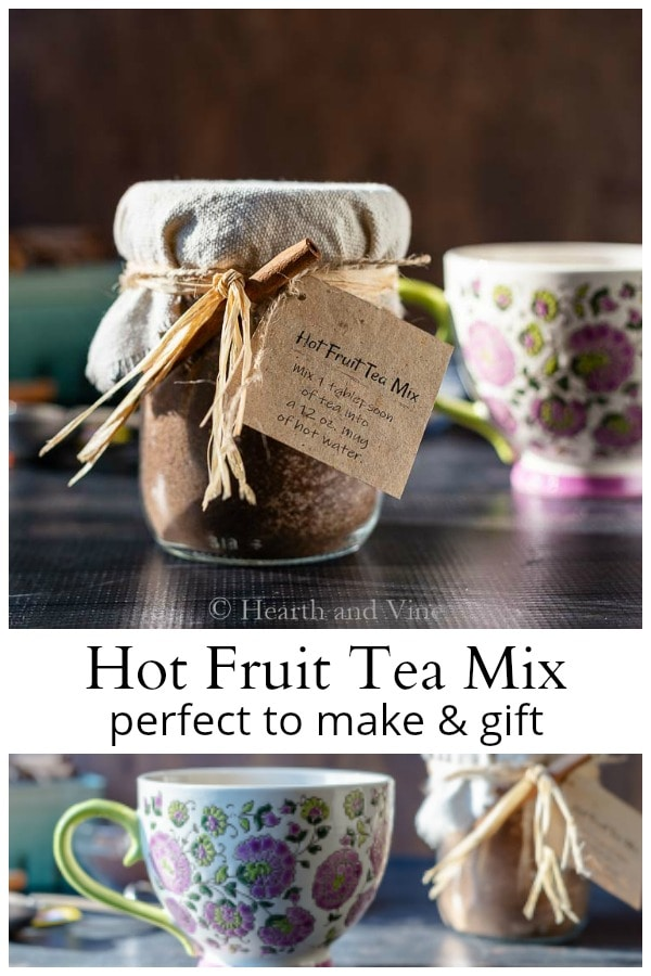 Hot fruit tea mix gift jar and mug.
