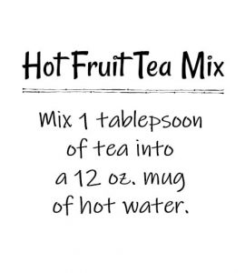 Hot fruit tea mix tag