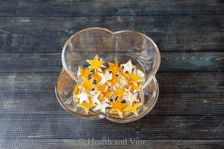 Dried lemon peel stars in water