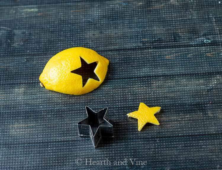 Lemon peel with star shape cut out.