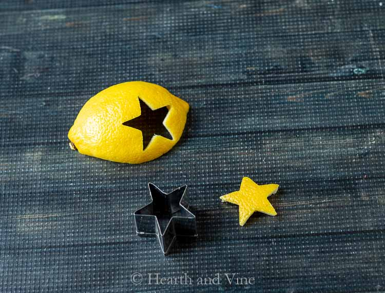 Star cookie cutter pressed into lemon peel
