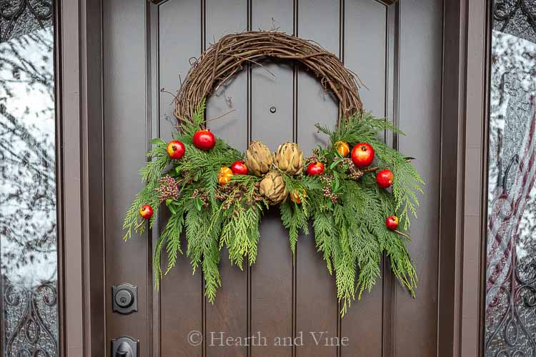 DIy winter wreath on front door