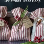 Three red and white striped gift bags.