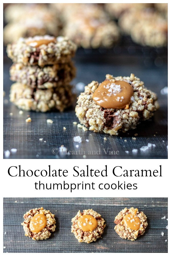 Chocolate salted caramel thumbprints collage