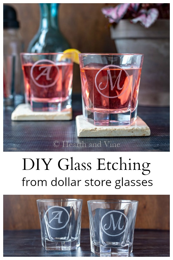 DIY etched glass dollar store to fancy barware