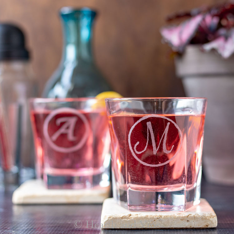 DIY glass etching for barware