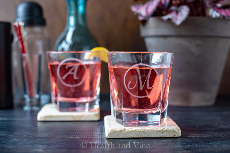 DIY etched glasses with cockails