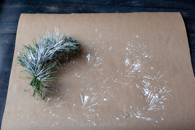 Artificial pine with white paint