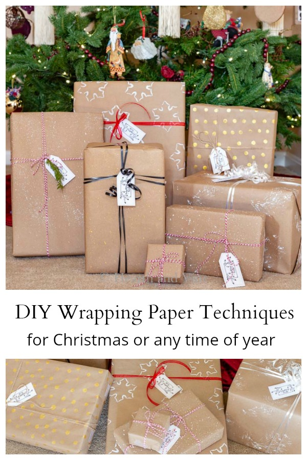 Several different DIY wrapping paper ideas for under tree