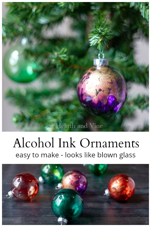 Alcohol ink ornaments collage