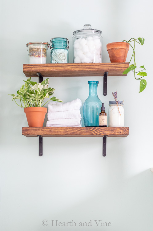 Decorate wood shelves on wall