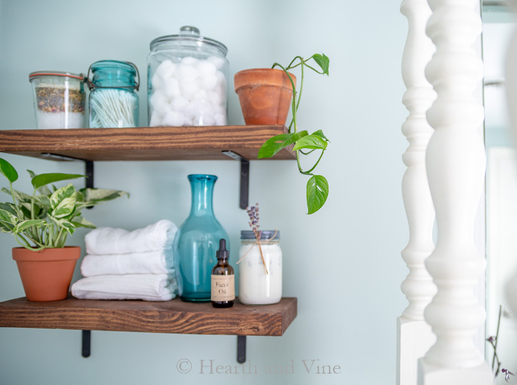 wood shelves in bathroom