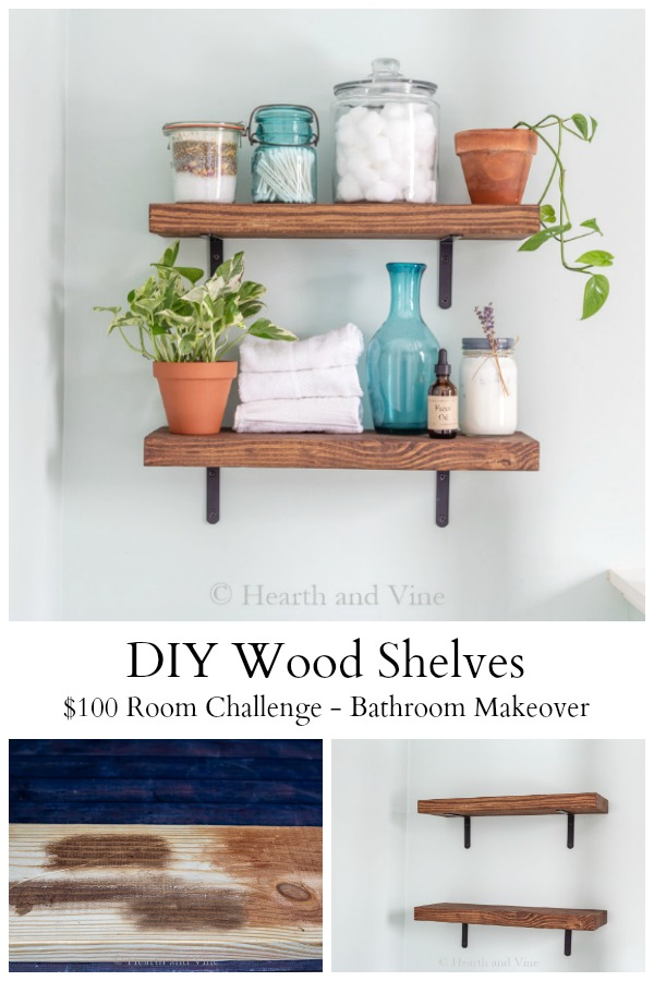 DIY wooden shelves for budget bathroom makeover
