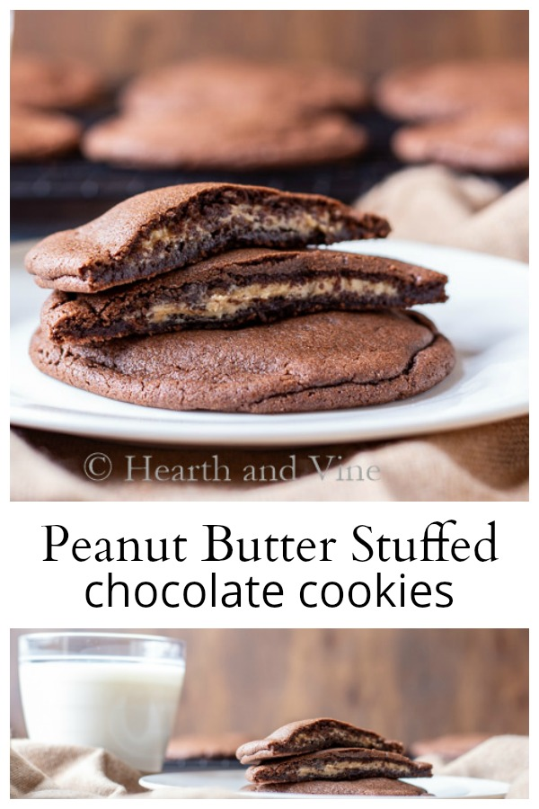 Peanut butter stuffed chocolate cookie collage