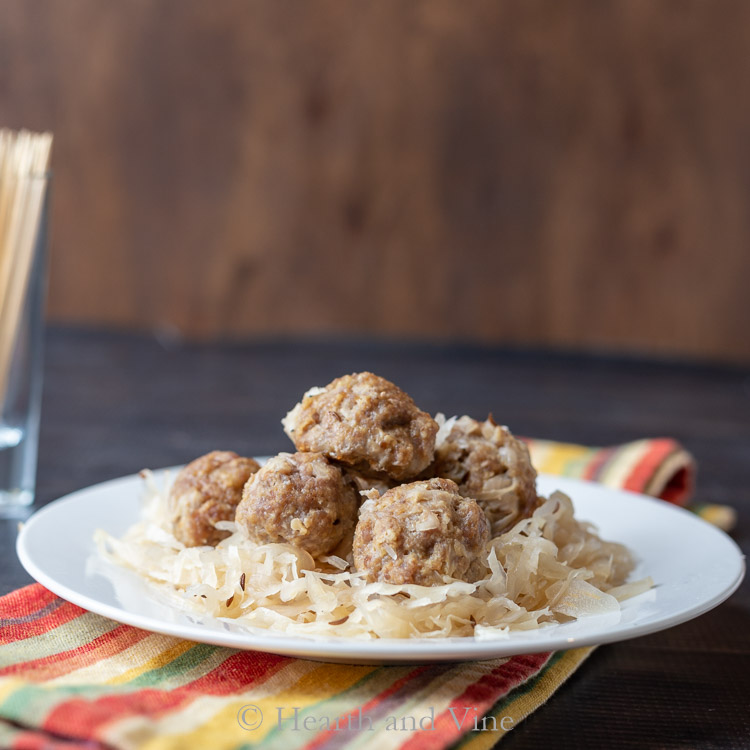 pork & sauerkraut meatball on plate
