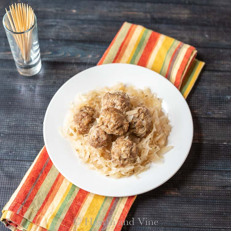pork and sauerkraut balls on plate