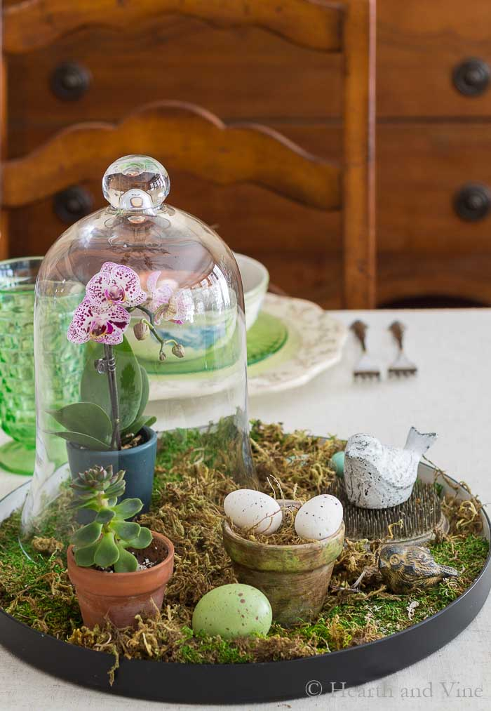 spring centerpiece with vintage floral frog and cloche