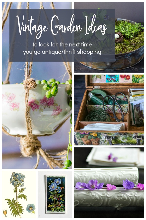 collage of vintage garden items
