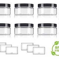 Clear PET Plastic (BPA Free) Refillable Low Profile Jar - 8 oz (6 Pack) + Spatulas and Labels