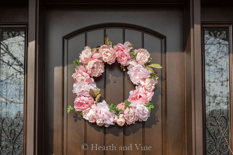 Spring peony wreath on front door