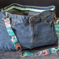 Open denim bag with strap