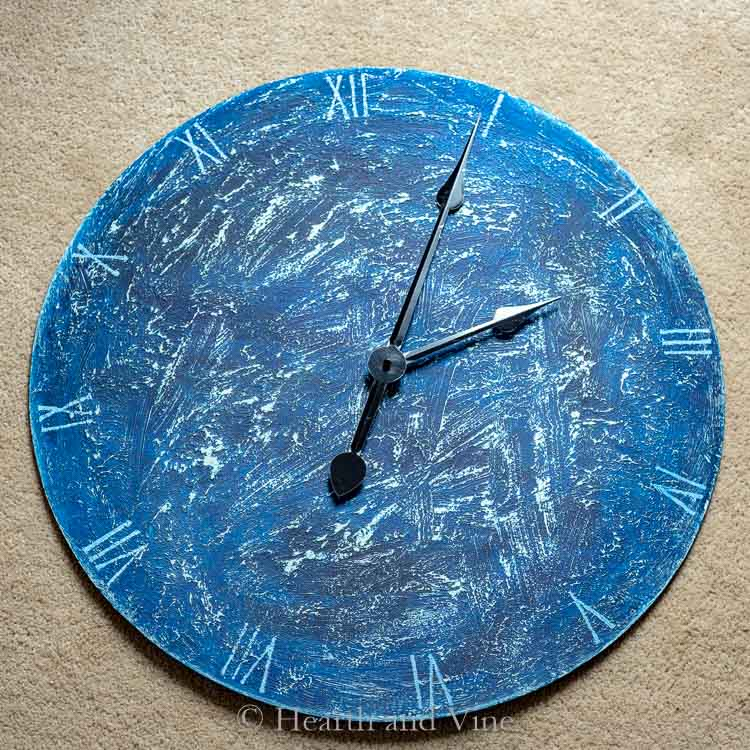 handmade clock with saltwash paint
