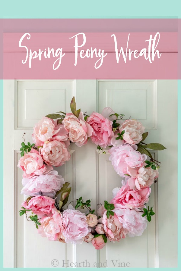 Spring peony wreath with text