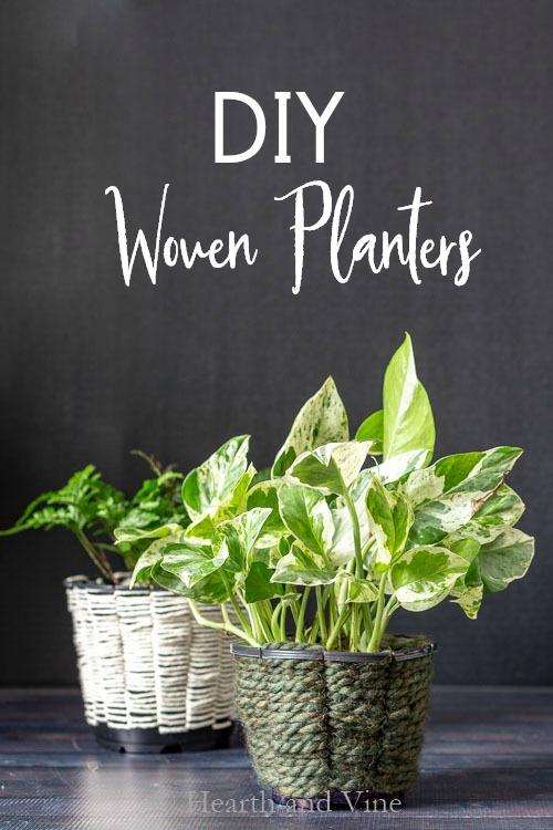 Housplants in woven planters