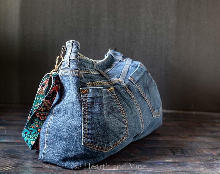 Back side of diy bag from jeans