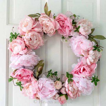 DIY spring peony wreath on white door