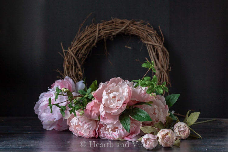 Supplies for spring peony wreath