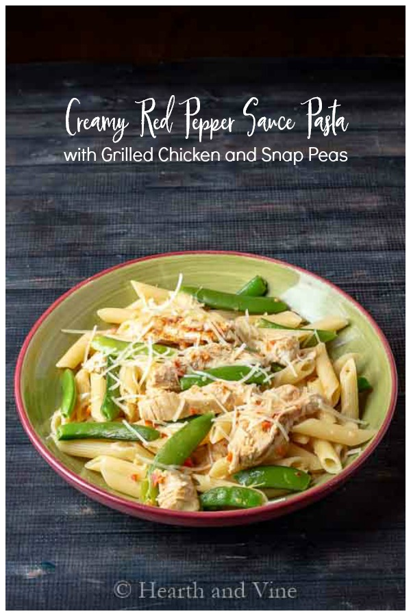 Pasta with chicken, snap peas and a red pepper sauce
