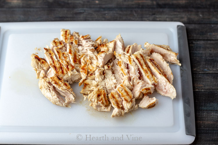 Slightly under done grilled chicken strips