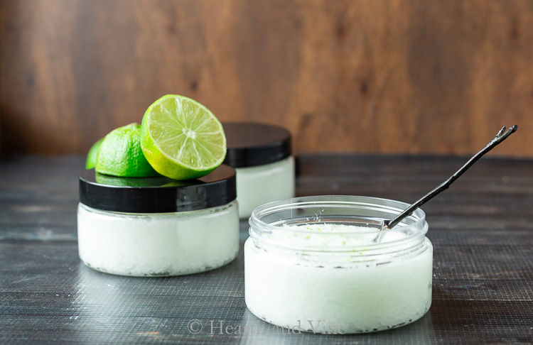 jars of foot scrub and limes