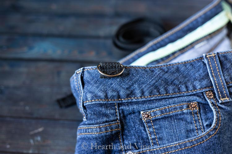 Sewn D-ring onto jean bag