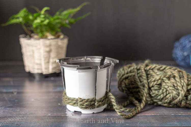 Woven planter with green yarn