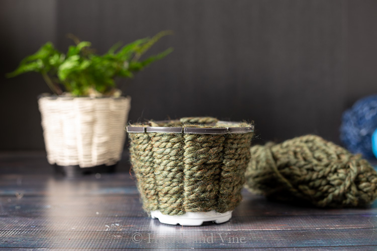 DIY woven planters with thick yarn