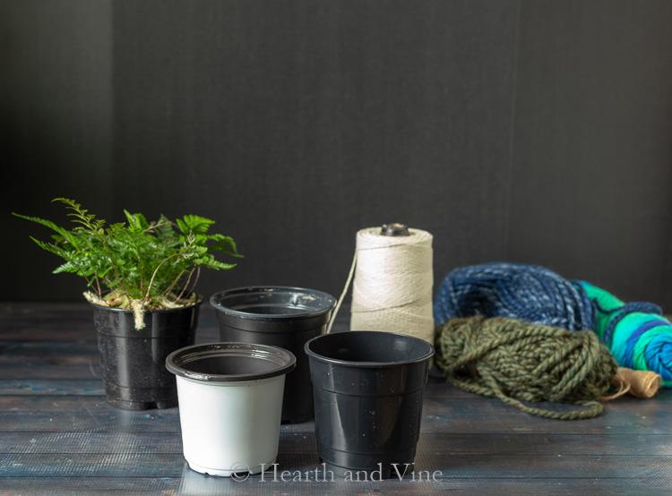 DIY woven planters supplies