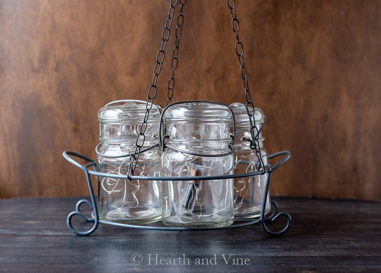 Canning jar chandelier
