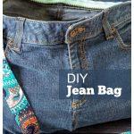 Jean bag with multi-colored strap