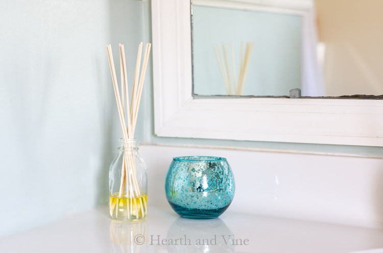 DIY reed diffuser in bathroom