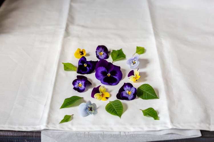 flower placement on teatowel