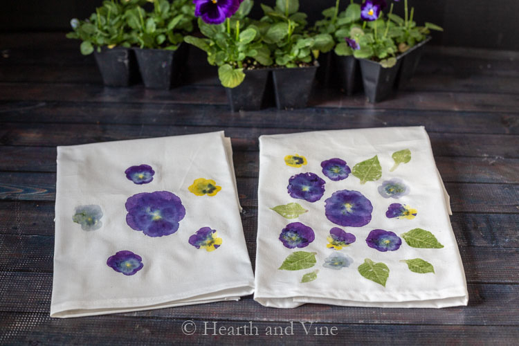Flower printing on tea towels