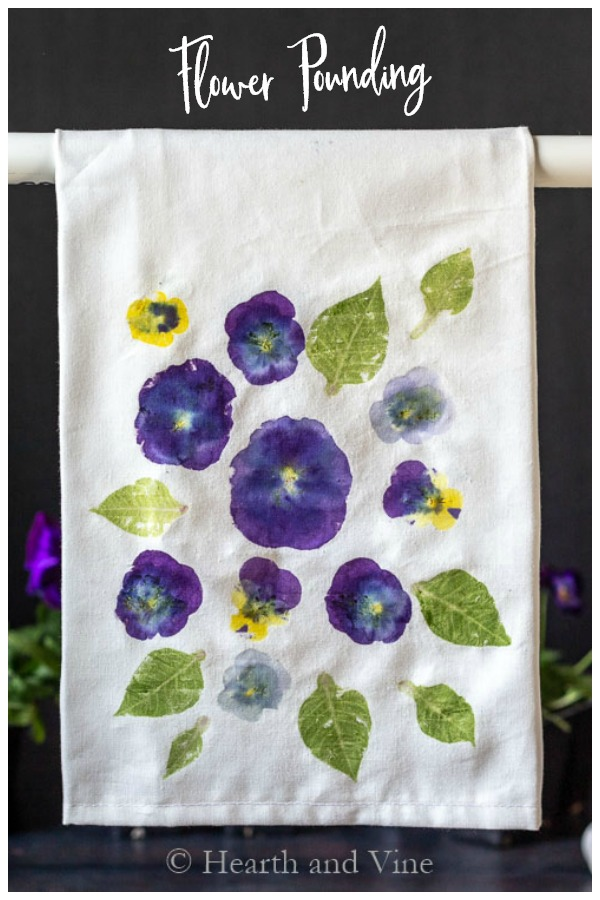 Flower print tea towel hanging