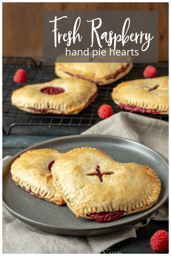 collage of heart shaped raspberry pies