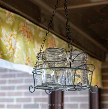 Hanging mason jar chandelier