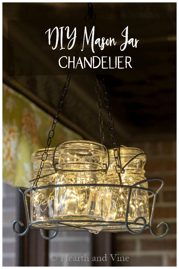 Hanging mason jar chandelier with fairy lights
