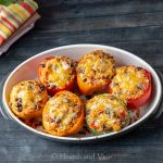 Mexican chicken stuffed peppers in casserole