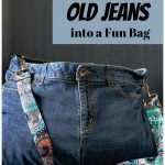 Bag made from jeans with colorful strap.