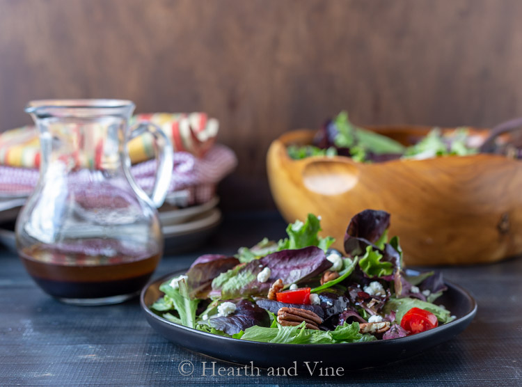 Mix greens salad with spicy balsamic vinaigrette